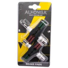 ALHONGA V-BRAKE REMBLOK 4 STUKS INBUS 72 MM BLISTER 2811604 ZW/GR/BRUI
