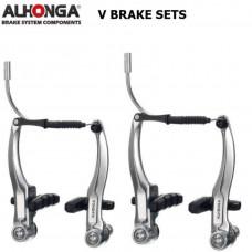 ALHONGA REMSET V-BRAKE COMPLEET V+A ZILVER 6001070