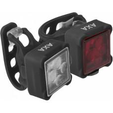 AXA NITELINE 44R SET VOOR EN ACHTERLICHT 4-LED USB OP KAART