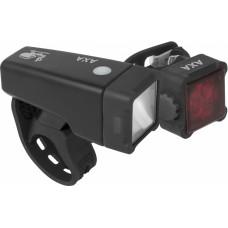AXA NITELINE T4 SET VOOR EN ACHTERLICHT 1-LED USB OP KAART